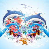 Bright abstract background with dolphins — Stock Photo
