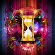 Sand trickles in an hourglass. Symbol as the time goes by. — Stockfoto