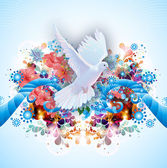 Bright abstract background with doves — Stock Photo