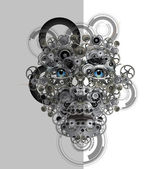 Face made from cogwheels — Stock Photo