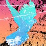 Grunge Abbildung der Taube und Stacheldraht — Stockvektor
