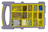 Bolts and screws in the organizer — Stock Photo