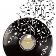 Stock Photo: Black vinyl record and music notes.