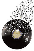Black vinyl record and music notes. — Stock Photo