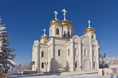 Orthodox temple with golden domes  — Stock Photo