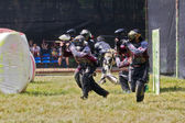 Participants of competitions paintball. — Stock Photo