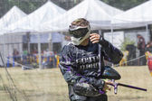 Paintball. Sportsman in riot gear. — Stock Photo
