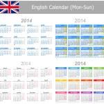 2014 English Mix Calendar Mon-Sun — Stock Vector #18318815