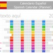 2014 Spanish Planner Calendar with Horizontal Months — Imagen vectorial
