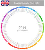 2014 English Circle Calendar Sun-Sat — Stock Vector