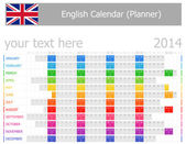 2014 English Planner Calendar with Horizontal Months — Stock Vector