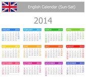 2014 English Type-1 Calendar Sun-Sat — Stock Vector
