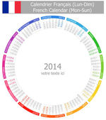 2014 French Circle Calendar Mon-Sun — Stock Vector