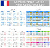 2014 French Mix Calendar Mon-Sun — Stock Vector