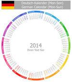2014 German Circle Calendar Mon-Sun — Stock Vector