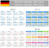 2014 German Mix Calendar Mon-Sun — Stock Vector