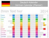 2014 German Planner Calendar with Horizontal Months — Stock Vector