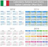 2014 Italian Mix Calendar Mon-Sun — Stock Vector
