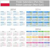 2014 Polish Mix Calendar Mon-Sun — Stock Vector