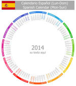 2014 Spanish Circle Calendar Mon-Sun — Stock Vector