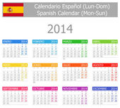 2014 Spanish Type-1 Calendar Mon-Sun — Stock Vector