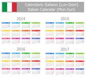 2014-2017 Type-1 Italian Calendar Mon-Sun — Stock Vector