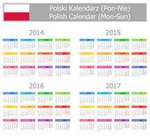 2014-2017 Type-1 Polish Calendar Mon-Sun — Stock Vector