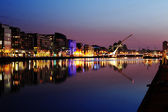 South bank of the river Liffey at Dublin City Center at night — Stock Photo