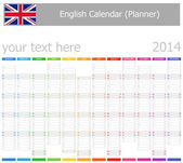 2014 English Planner-2 Calendar with Vertical Months — Stock Vector