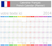 2014 French Planner-2 Calendar with Vertical Months — Stock Vector
