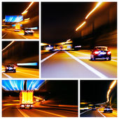 Night highway traffic impression pictures — Stock Photo