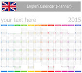 2015 English Planner-2 Calendar with Vertical Months — Stock Vector