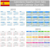 2015 Spanish Mix Calendar Sun-Sat — Stock Vector