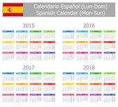 2015-2018 Type-1 Spanish Calendar Mon-Sun — Stock Vector