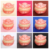 Compilation of dentures on colorful backgrounds — Stock Photo