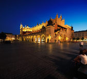 A night view of the Market Square in Krakow, Poland — Stock Photo