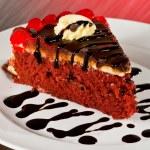 Red Velvet Cake Slice — Stock Photo