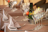 Fine table setting in restaurant with wineglass for different u — Stock Photo