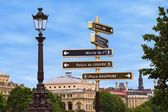 Famous signpost in Paris, Europe for different uses — Stock Photo