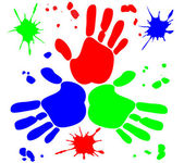 Vector with RGB hand prints with drops for different uses — Stock Vector