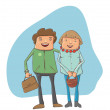 Stock Vector: а young couple on the street
