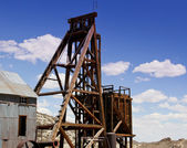 Gold and silver mine shaft head frame — Stock Photo