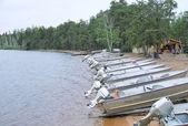 Canadian lake fishing lodge boats — Stock Photo
