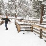 Senior female on snow covered trail — Stock Photo #51384339