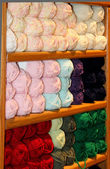 Bright colored yarn  on display — Foto de Stock