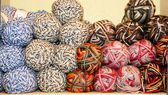 Variegated yarn skeins on display — Stock Photo