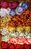 Bright color variegated yarn skeins — Stock Photo