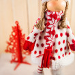 Christmas doll waiting for Santa — Stock Photo
