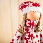 Christmas doll waiting for Santa — Stock Photo #15707319