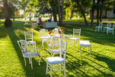 Furniture in the garden — Stock Photo